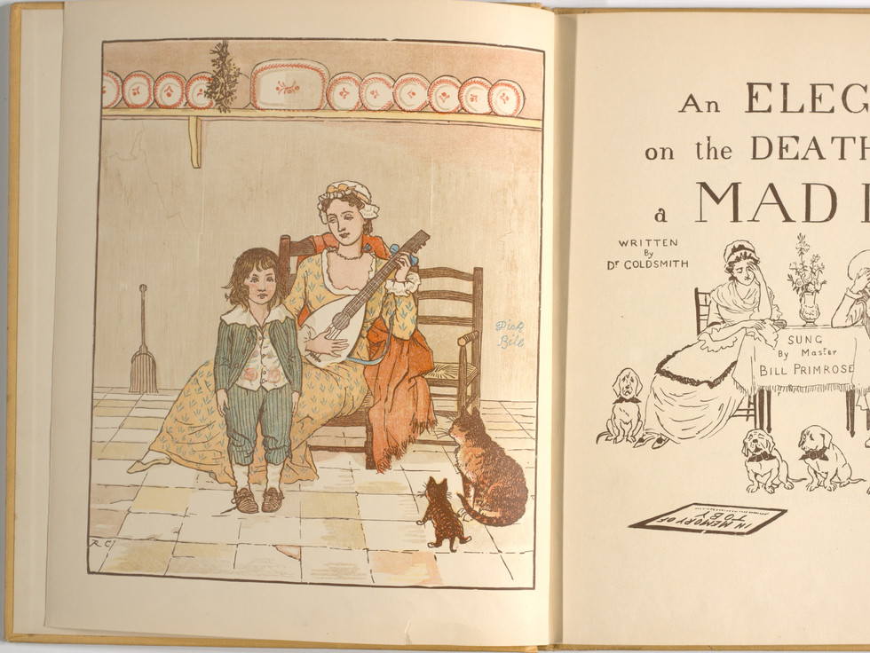 Goldsmith, Oliver, and Randolph Caldecott. An Elegy on the Death of a Mad Dog. London and New York: Frederick Warne & Co, 1766. p.3-4. Ryerson University Library and Archives.