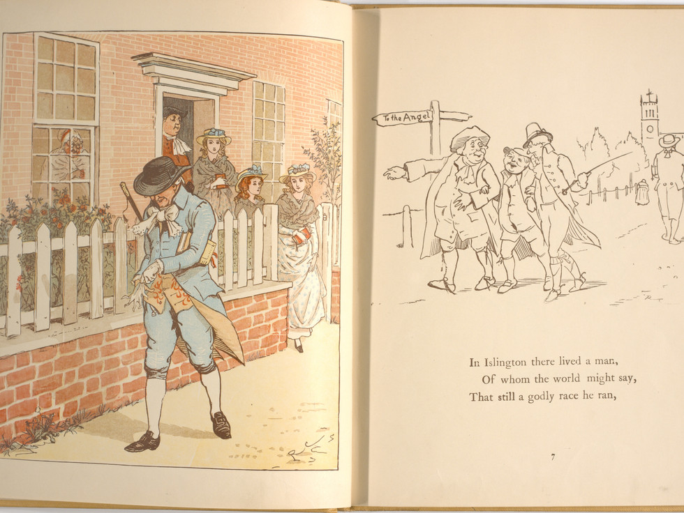 Goldsmith, Oliver, and Randolph Caldecott. An Elegy on the Death of a Mad Dog. London and New York: Frederick Warne & Co, 1766. p.7-8. Ryerson University Library and Archives.