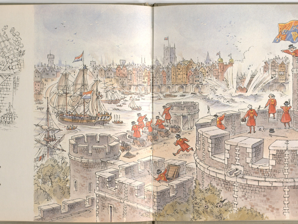 Spier, Peter. London Bridge Is Falling Down. Doubleday Books for Young Readers, 1985. p. 19-20. Ryerson University Library and Archives.