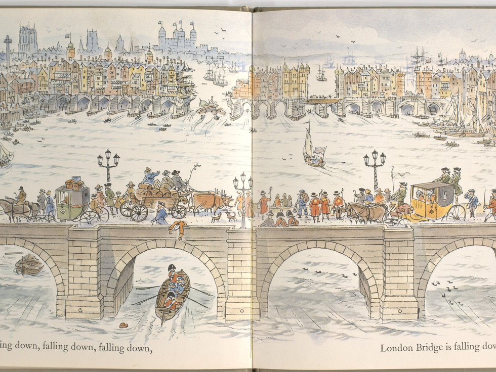Spier, Peter. London Bridge Is Falling Down. Doubleday Books for Young Readers, 1985. p. 3-4. Ryerson University Library and Archives.
