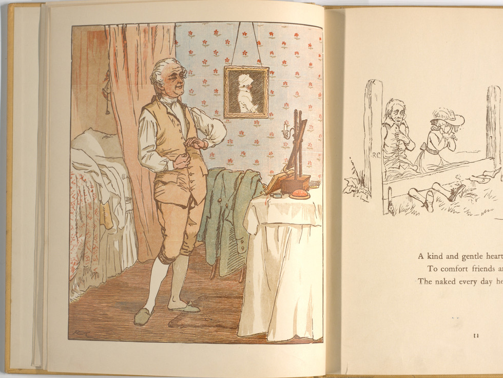 Goldsmith, Oliver, and Randolph Caldecott. An Elegy on the Death of a Mad Dog. London and New York: Frederick Warne & Co, 1766. p.11-12. Ryerson University Library and Archives.