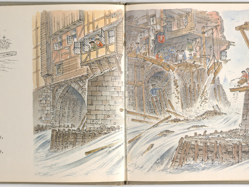 Spier, Peter. London Bridge Is Falling Down. Doubleday Books for Young Readers, 1985. p. 11-12. Ryerson University Library and Archives.