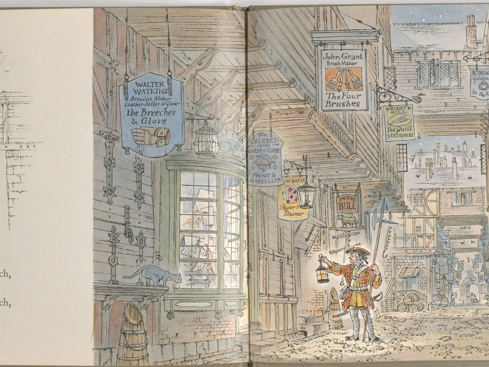 Spier, Peter. London Bridge Is Falling Down. Doubleday Books for Young Readers, 1985. p. 25-26 Ryerson University Library and Archives.
