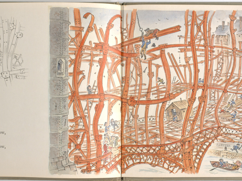 Spier, Peter. London Bridge Is Falling Down. Doubleday Books for Young Readers, 1985. p.15-16. Ryerson University Library and Archives.