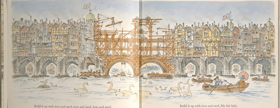 Spier, Peter. London Bridge Is Falling Down. Doubleday Books for Young Readers, 1985. p. 13-14. Ryerson University Library and Archives.