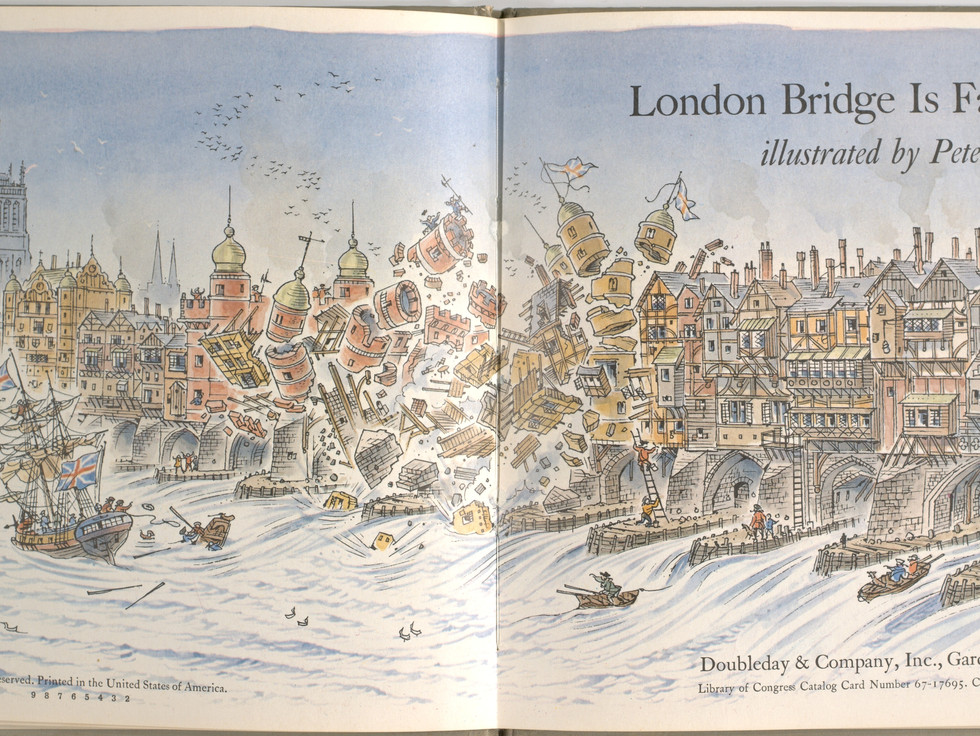 Spier, Peter. London Bridge Is Falling Down. Doubleday Books for Young Readers, 1985. p. 1-2. Ryerson University Library and Archives.