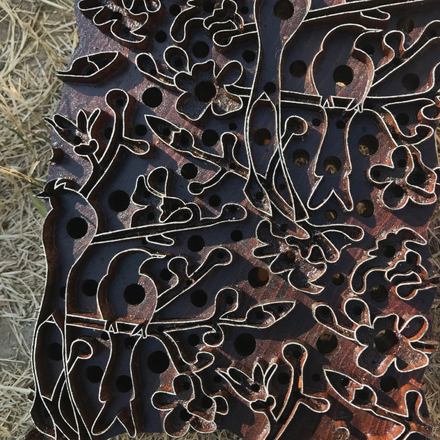 Our super fine Kapok hand carved woodblock drying in the sun.