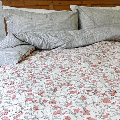 Birds in Blossom pure cotton duvet cover