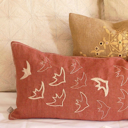 One-of-a-kind hand embroidered dusky pink Indian linen lumbar cushion cover