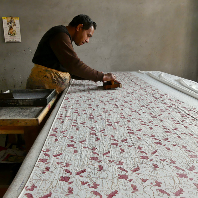 Kapok Trio on fine cotton voile. The backing fabric for our hand stitched Kapok Watermelon quilt.