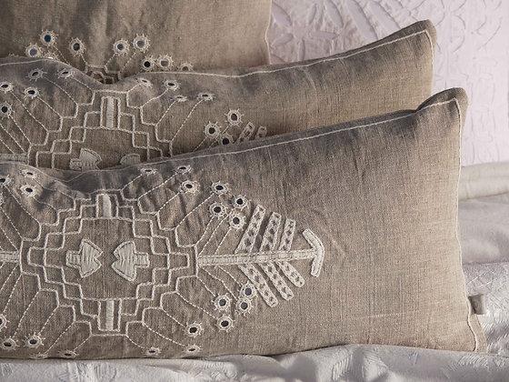 Hand embroidered Indian linen Meghwal mirror-work lumbar cushion.