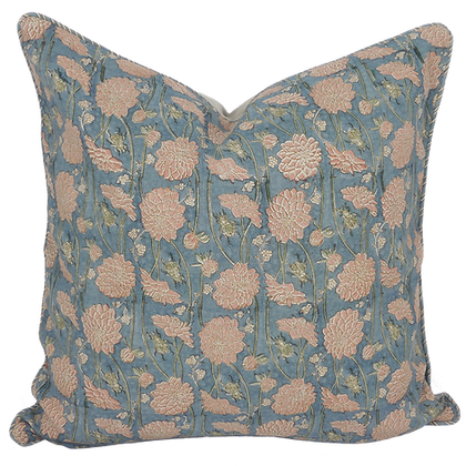 60cm Dahlia & Beetles linen cushion cover