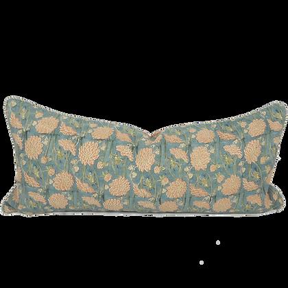 35/80cm Dahlia & Beetles linen lumbar cushion