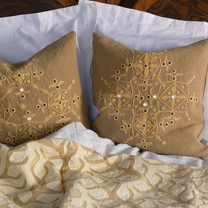 35cm hand embroidered natural Indian linen Meghwal mirrorwork cushion in Mustard