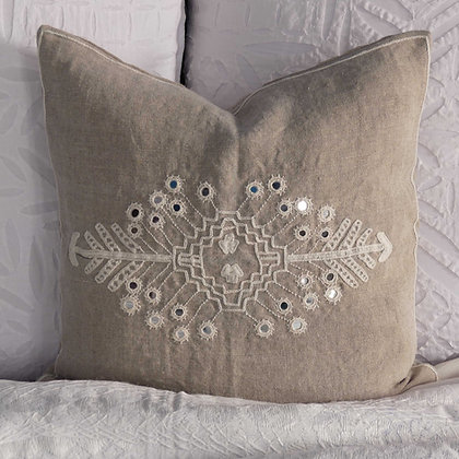 Meghwal hand embroidered natural Indian linen mirrorwork cushion