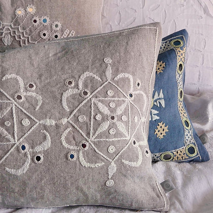 Hand embroidered oatmeal washed Indian linen Meghwal mirror-work cushion