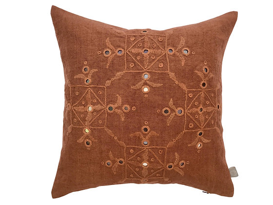 Meghwal hand embroidered rusty linen mirrorwork cushion