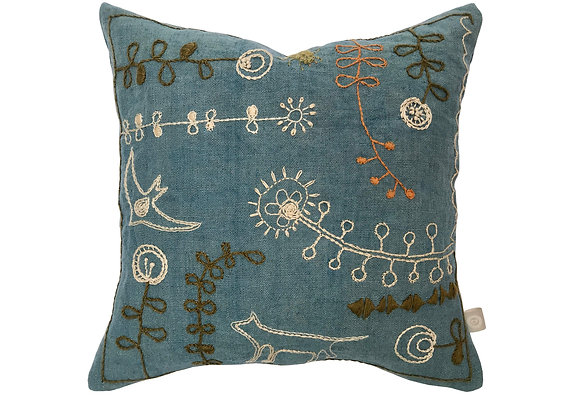 Hand embroidered blue linen doodle cushion