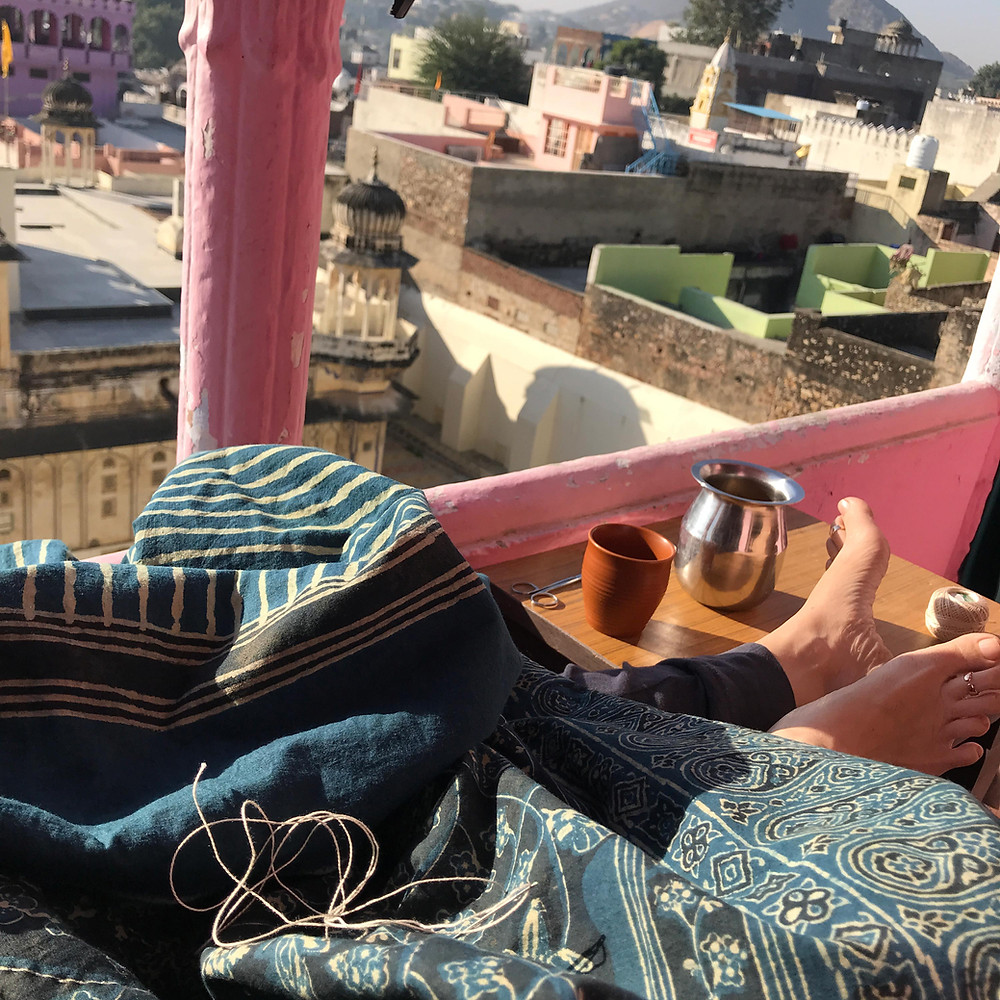 Balcony, city view, morning chai, rajasthan, sewing