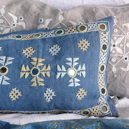 Hand embroidered Indian linen mirror-work lumbar cushion in soft pastels