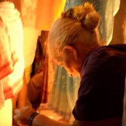 Grandmother in festival light