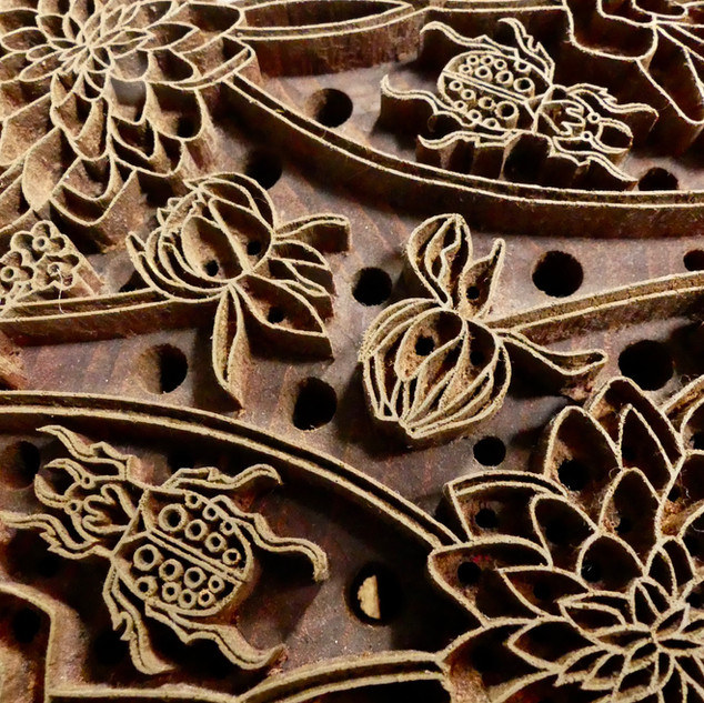 One of our beautiful hand carved Dahlia woodblocks. A piece of art in itself.