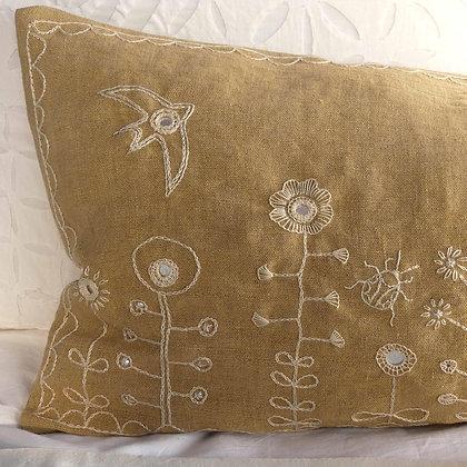 Ochre doodle. Hand embroidered mustard linen lumbar cushion