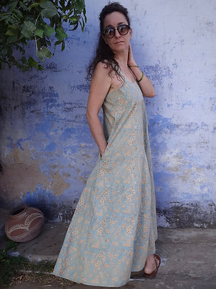 Strappy Maxi Flair comfortable summer dress with deep pockets.