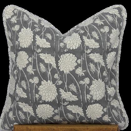 40cm Dahlia & Beetles Khadi cushion cover