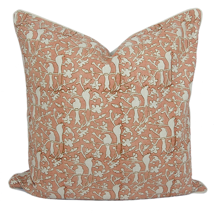60cm Birds in Blossom linen cushion cover
