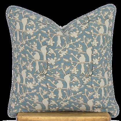 40cm Birds in Blossom linen cushion cover