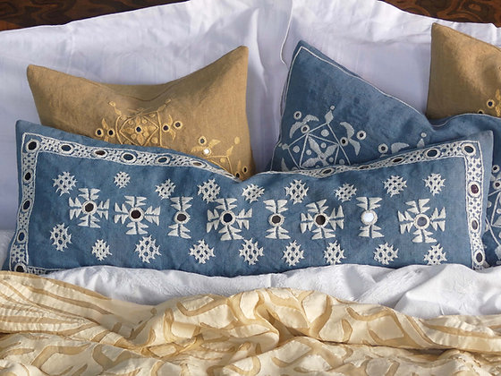 Hand embroidered Indian linen Meghwal mirror-work lumbar cushion