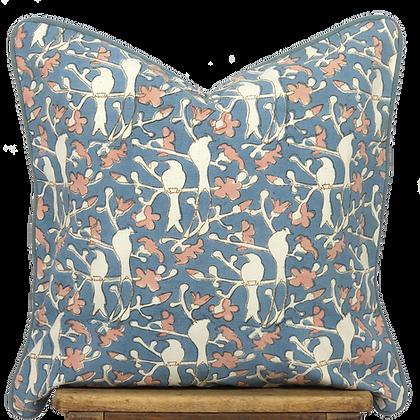 40cm Birds in Blossom Khadi cushion cover