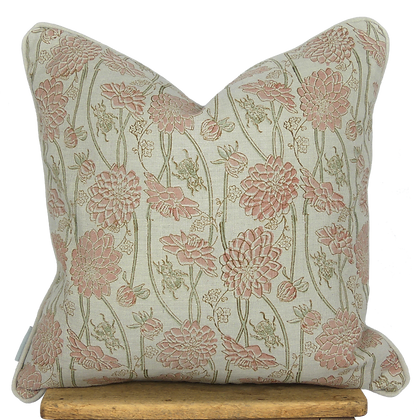 40cm Dahlia & Beetles linen cushion cover