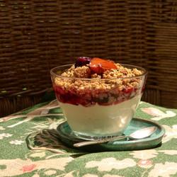 Cheesecake cherry crumble. Tuscany