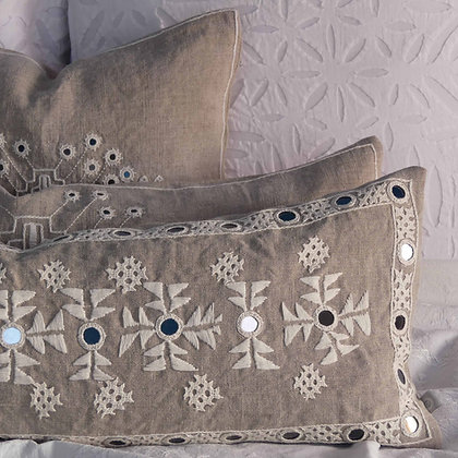 Hand embroidered Indian linen Meghwal mirror-work lumbar cushion.