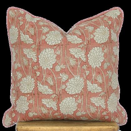 40cm Dahlia & Beetles linen cushion cover