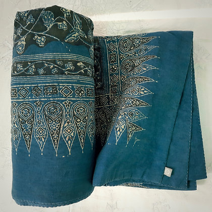 Ajrakh woodblock resist printed and kantha hand quilted Indigo Moth Throw