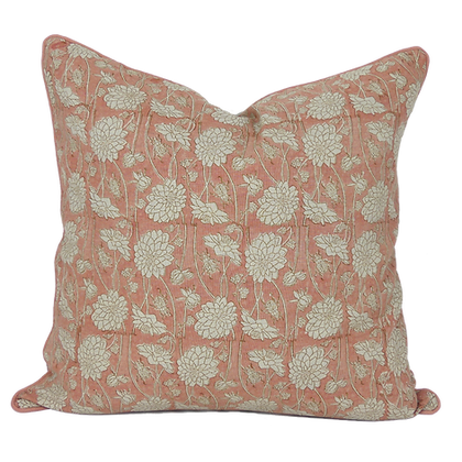 60cm Dahlia & Beetles linen cushion cover