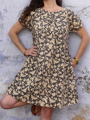 Raglan sleeve comfortable easy fitting sundress with deep pockets.