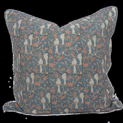 60cm Birds in Blossom linen cushion cover
