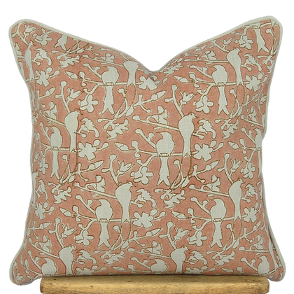 40cm Birds in Blossom linen cushion cover