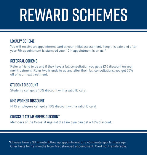 Reward scheme for physiotherapy and sports injuries rehabilitation