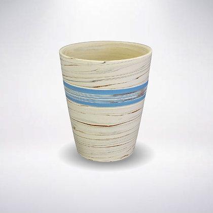 憲児陶苑 マグカップ 白練込みブルー中帯