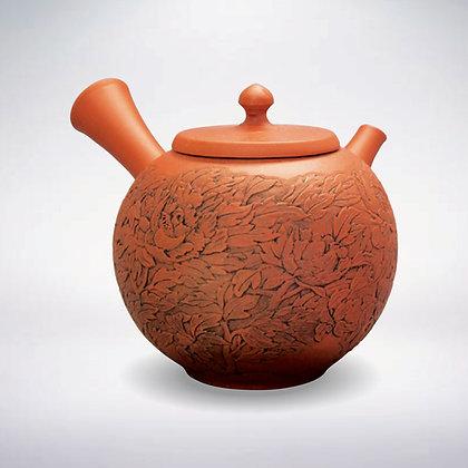 開雲 陶茶こし 朱泥 印籠蓋牡丹彫 木箱入
