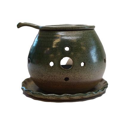 間宮 織部 皿付 茶香炉