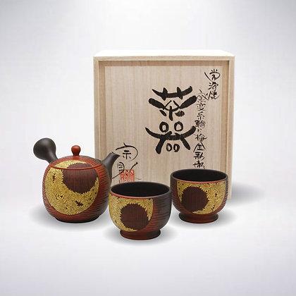 宗則 陶茶こし 朱窯変 金彩菊彫三点茶器揃い 木箱入