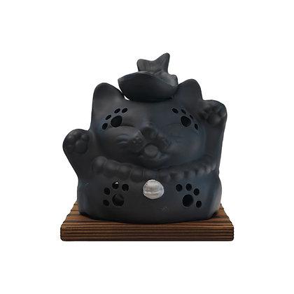 山房 猫と魚 杉板付 茶香炉