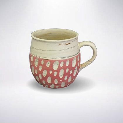 憲児陶苑 マグカップ 白練込みピンク水玉