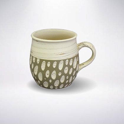 憲児陶苑 マグカップ 白練込み緑水玉
